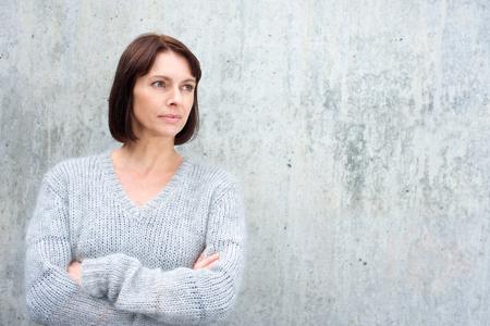 away: Portrait of an older woman in wool sweater