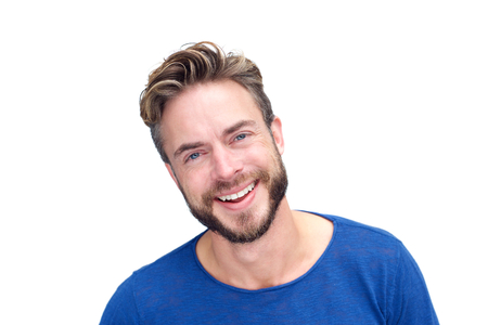 one man: Close up portrait of a handsome man with beard laughing