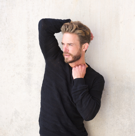 the trendy: Portrait of a handsome male fashion model with beard