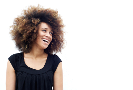 real: Portrait of a laughing african american woman looking away