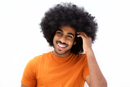 cool guy: Close up portrait of a cool black guy with hand in afro hair