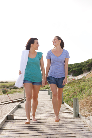 Full length portrait of two female friends walking from the beach