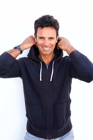 Portrait of a smiling middle aged man with sweatshirt