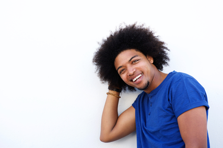 cool guy: Close up portrait of a cool guy with afro smiling