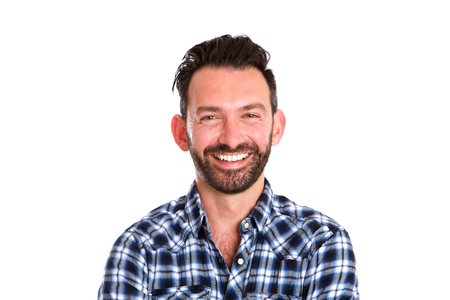 mature man: Close up portrait of cheerful mature man with beard in shirt against white background Stock Photo