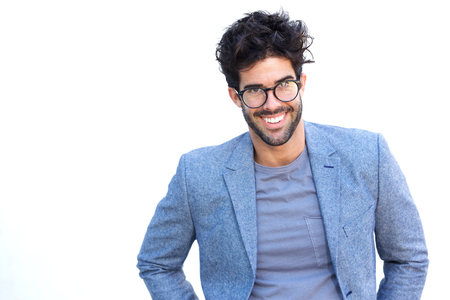 Portrait of handsome man smiling with glasses and blue blazer