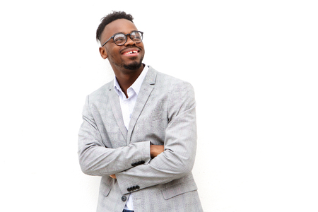 Portrait of happy young african american businessman with glasses Standard-Bild