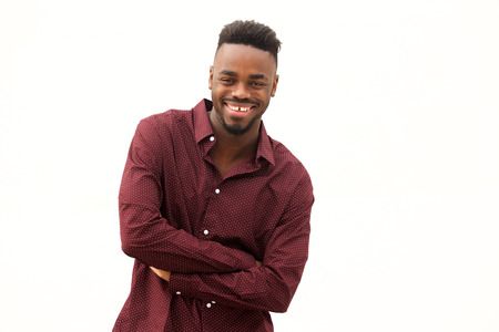 Portrait of happy young african american man against isolated white background