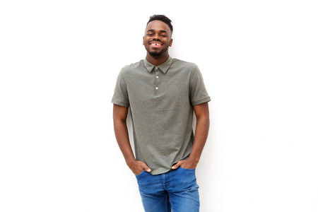 Portrait of happy young african man smiling against isolated white background Standard-Bild