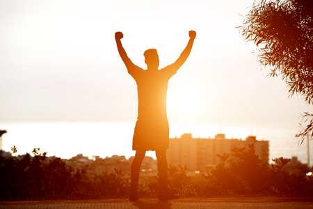 Back of man standing by sunset with arms raised up Standard-Bild