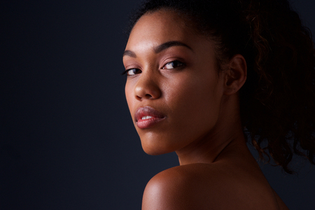 Close up beauty portrait of african american fashion woman