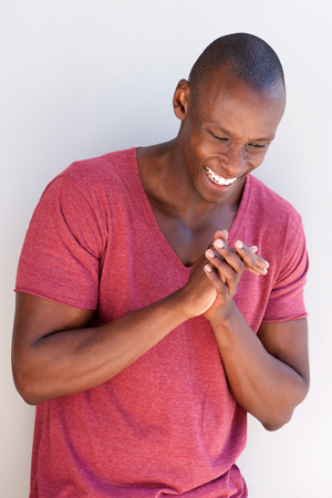 Portrait of happy black man clapping hands