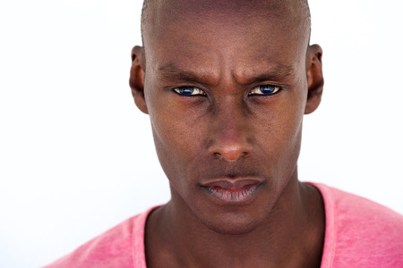 Close up portrait of serious african american man staring Imagens