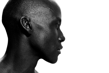Close up side portrait of african american man staring