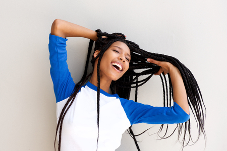 Portrait of beautiful young black woman with long braided hair Stock Photo