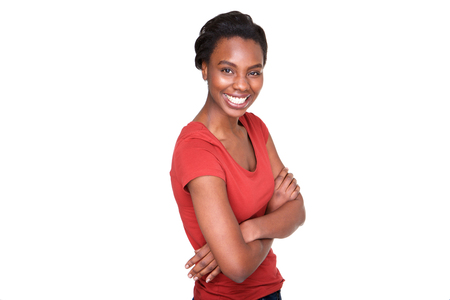 Portrait of confident african american woman standing with arms crossed