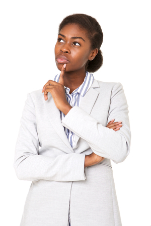 Portrait of young african american woman thinking with hand to chin