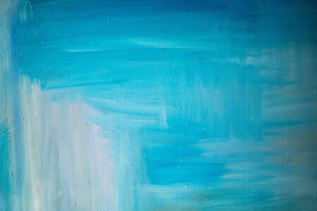 Blue and white oil painting on canvas
