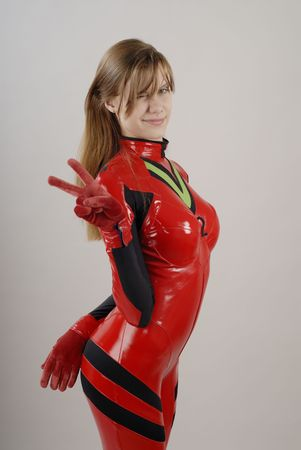 Anime Girl in red costume with black lines 3 photo