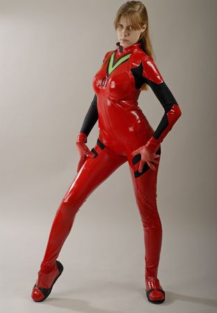Girl in red in pose photo