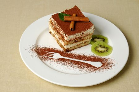 delicious and beautiful cake with  the cinnamon topping Stock Photo - 3092686