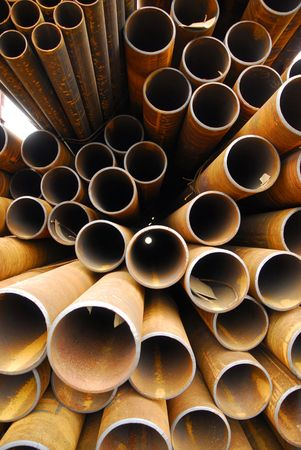 Many rusty pipes of Russian factory Stock Photo - 3092739