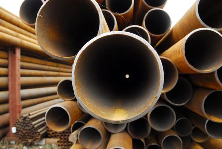 Many rusty pipes of Russian factory 3 Stock Photo - 3092664