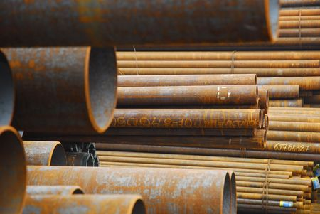 Many rusty pipes of Russian factory 5