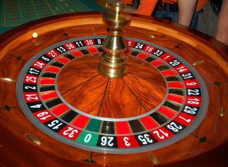 action shot: Roulette table in action. Shot from a real casino 3 Stock Photo