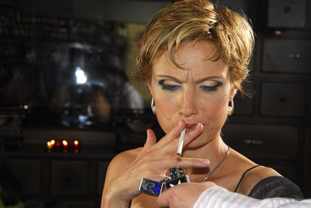 40 years old woman with cigarette