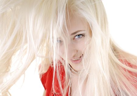 Portrait of a beautiful young sexy woman with long white hair photo