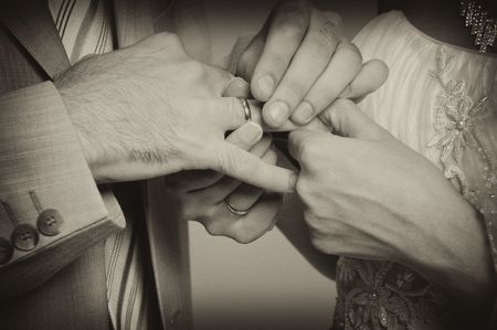Wedding rings exchange between groom and bride Stock Photo - 3580953