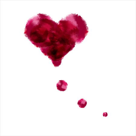 three dots: Red idea-like water color heart with three dots Stock Photo