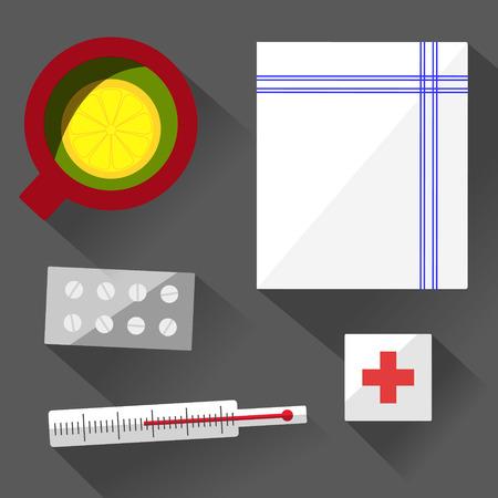 sick leave: Illness still life with mug, pills, thermometer, handkerchief