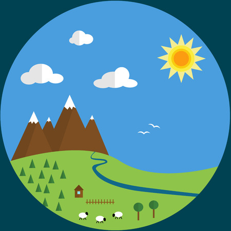 Flat design landscape with mountains and sheeps photo