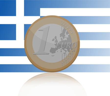 greek coins: Vector illustration of one Euro coin with reflection with Greece flag on background