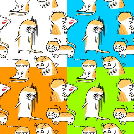 seamless cute cartoon cat Illustration