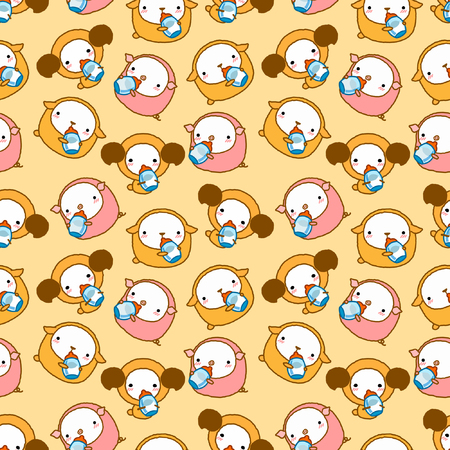 seamless background for cute cartoon sheep and dog and pig