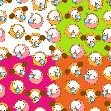 personification: seamless background for cute cartoon sheep and dog and pig