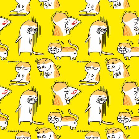 seamless background for cute cartoon cat