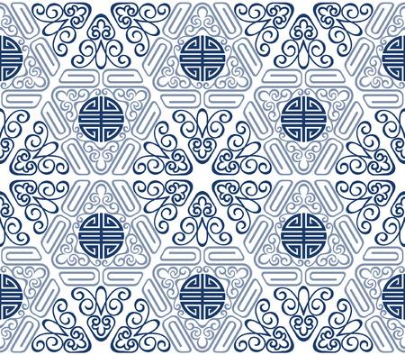 longevity: Seamless Chinese Pattern of longevity and lucky Symbols Illustration