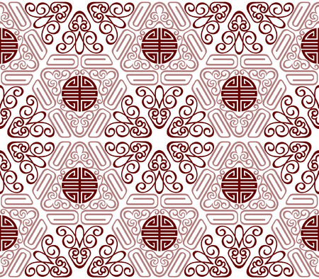Seamless Chinese Pattern of longevity and lucky Symbols 向量圖像