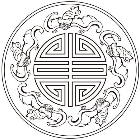 中國模式五福臨門長壽與幸運符號蝙蝠