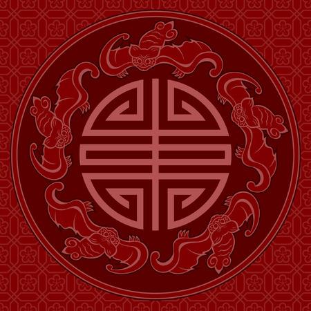 Naadloze Chinese Patroon Van Vijf zegeningen Longevity En Lucky en Bat Symbolen
