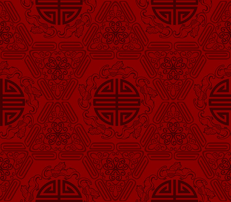 longevity: Seamless Chinese Pattern Of Five Blessings Longevity And Lucky And Bat Symbols