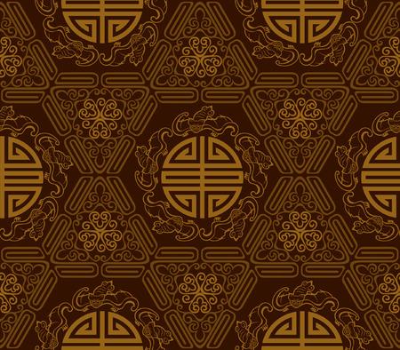 無縫的中國模式五福臨門長壽與幸運符號蝙蝠