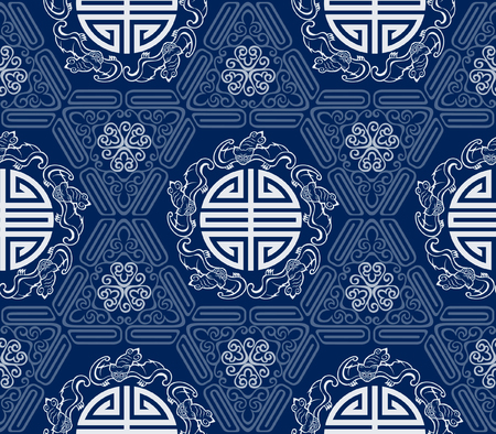 chinese pattern: Seamless Chinese Pattern Of Five Blessings Longevity And Lucky And Bat Symbols