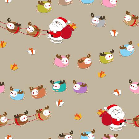 seamless Santa Claus in a sleigh 向量圖像