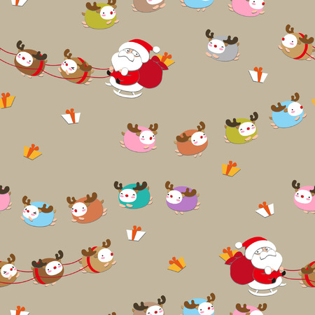 seamless Santa Claus in a sleigh Illustration