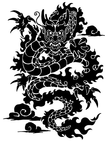 Traditional Chinese or Japanese dragon 向量圖像